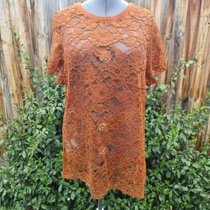 City Chic Short Sleeve Lace Top